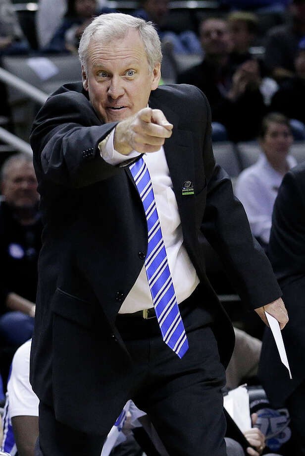 Saint Louis head coach Jim Crews gestures during the first half of a second-round game in the NCAA college basketball tournament against New Mexico State in San Jose, Calif., Thursday, March 21, 2013. (AP Photo/Jeff Chiu) Photo: Jeff Chiu, Associated Press / AP