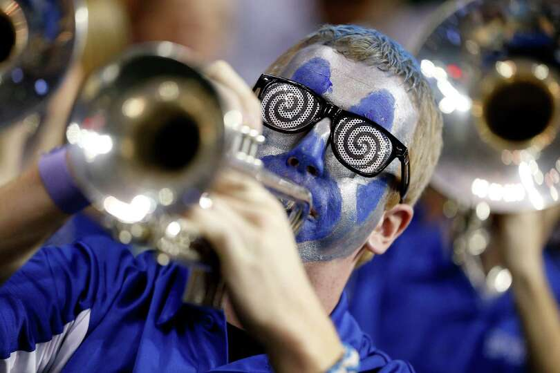 A member of the band for the Memphis Tigers performs against the St. Mary's Gaels during the second