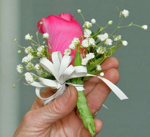 A corsage by Garden Club of Newtown member Pat Benkovich, at the Newtown Library. Tuesday, Feb. 26, 2013 Photo: Scott Mullin
