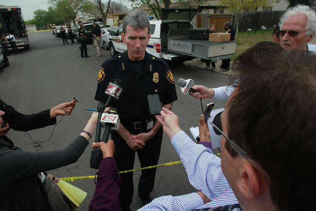 San Antonio police Chief William McManus speaks with the media while officers investigate the scene of a home on the 9600 block of Vale where three bodies were found by police after a request for a welfare check was made. Inside, officers found the body of a woman on a bed, and the body of a younger man on the floor of another bedroom. A second man, believed to be in his late 70s, was found in a living room chair. He apparently killed the other man and the woman using a .22 caliber rifle before turning the weapon on himself, San Antonio police Chief William McManus said. Photo: JOHN DAVENPORT, SAN ANTONIO EXPRESS-NEWS / ©San Antonio Express-News/Photo may be sold to the public