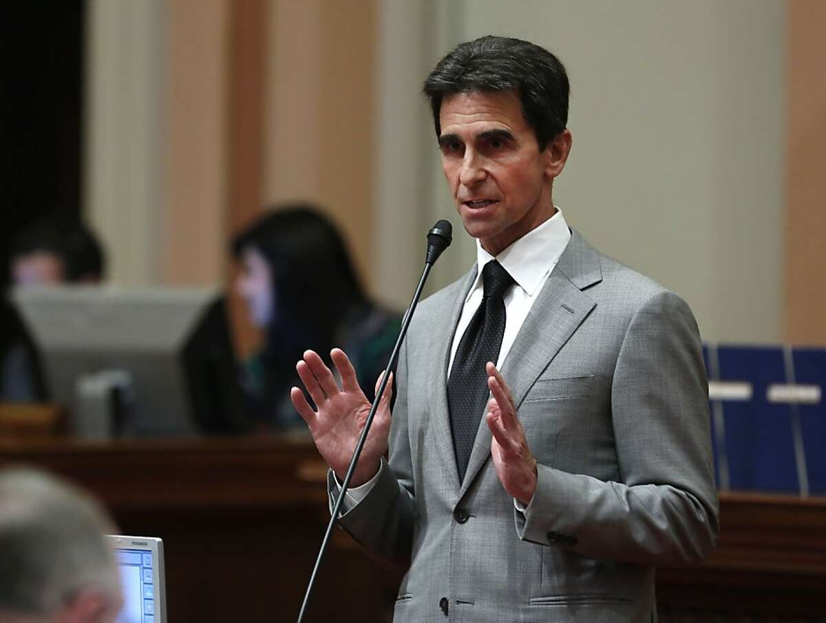 State Sen. Mark Leno, D-San Francisco, urged lawmakers to approve his measure authorizing more money for a California program that seizes guns from people who are prohibited from having them, at the Capitol in Sacramento, Calif., Thursday, March 7, 2013. With eight Republicans voting with the Democratic majority, the bill, was approved by a 31-0 vote and sent to the Assembly.(AP Photo/Rich Pedroncelli)