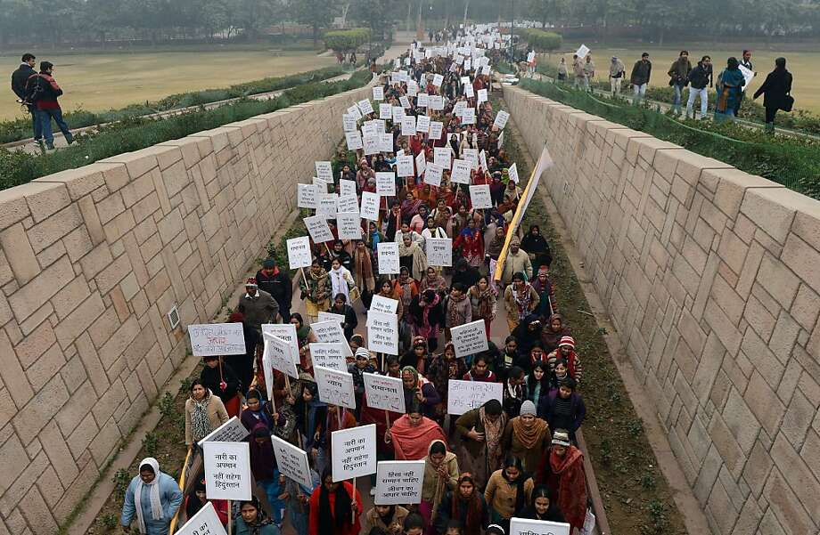 Indian women hold a march for dignity in New Delhi on Jan. 2 after the fatal gang-rape of a student. Photo: Prakash Singh, AFP/Getty Images