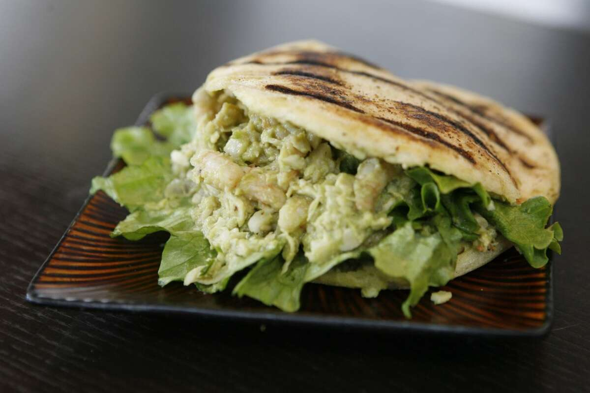 Arepa: Chicken Salad Pepeada grilled chicken with Guasacaca sauce, lettuce, tomato