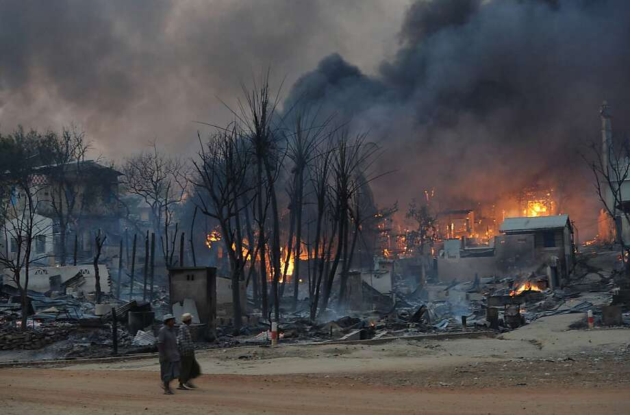 Buildings burn in Meikhtila, Burma, where a fight between a shop owner and his patrons set off riots. Photo: Soe Than Win, AFP/Getty Images