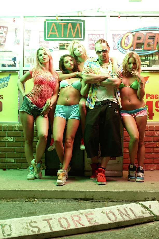 "Rachel Korine (from left), Selena Gomez, Ashley Benson, James Franco and Vanessa Hudgens star in ""Spring Breakers."" Photo: Muse Productions"
