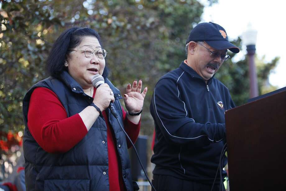 Mayor Edwin M. Lee invited Rose Pak to speak a few words at the Chinatown's Ping Pong Tournament in San Francisco, Calif. on Sunday, Aug 26, 2012. Photo: Sonja Och, The Chronicle