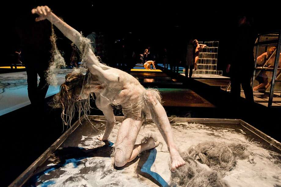 """Shen Wei Dance Arts' """"Divided Undivided"""" keeps performers tightly contained, but moving inside """"cubes"""" of space, where they use cord, hairy stuff or paint. Photo: Courtesy Of The Artist, ?Stephanie Berger Photography."""