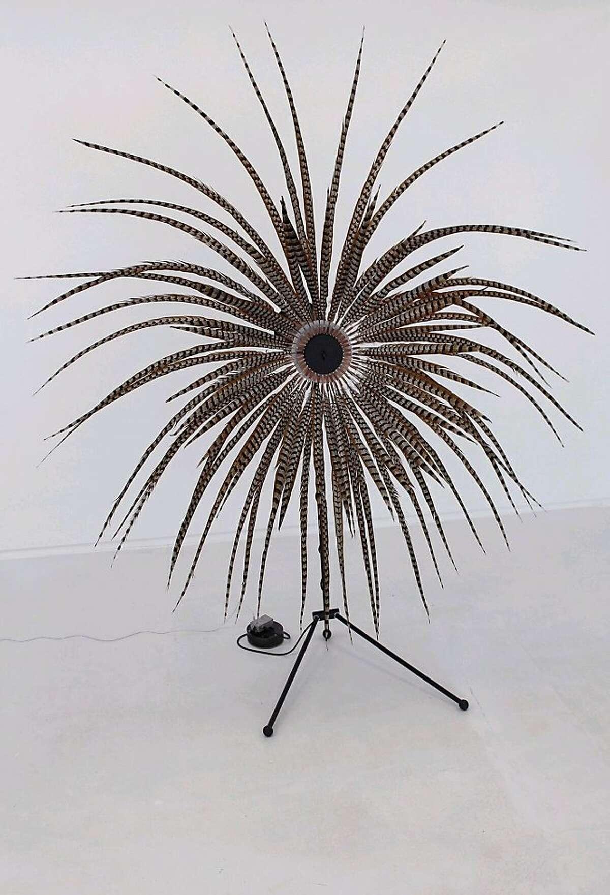 Alan Rath Qi, 2013 fiberglass, polypropylene, aluminum, custom electronics, feathers 11 x 9 x 5 feet Image courtesy of the artist and Hosfelt Gallery, San Francisco.