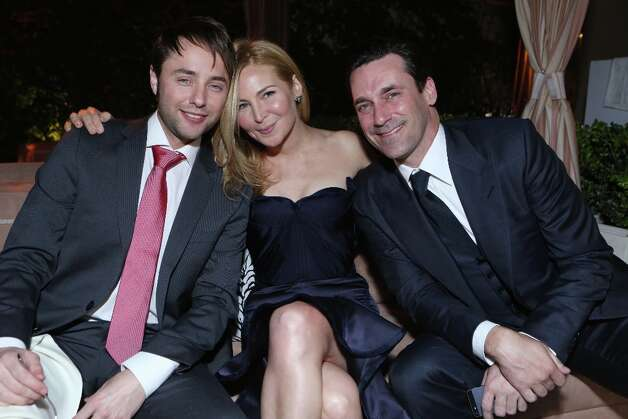 From left, Vincent Kartheiser, Jennifer Westfeldt and Jon Hamm attend the after party for the AMC Season 6 Premiere of Mad Men , on Wednesday, March, 20, 2013 in Los Angeles. (Photo by Alexandra Wyman/Invision for AMC/AP Images) Photo: Alexandra Wyman, Associated Press / Invision