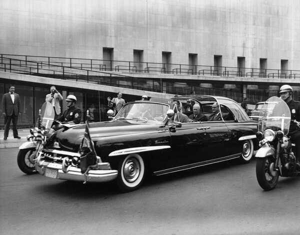 President Dwight Eisenhower leaves the United Nations in New York after a meeting with the Security Council in 1958. Photo: Transcendental Graphics, Getty Images / 2006 Mark Rucker/Transcendental Graphics