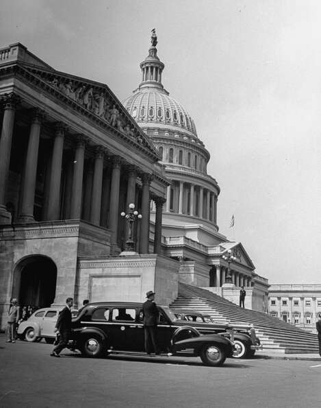 President Franklin D. Roosevelt's limousine is parked in front of the Capitol in 1940.