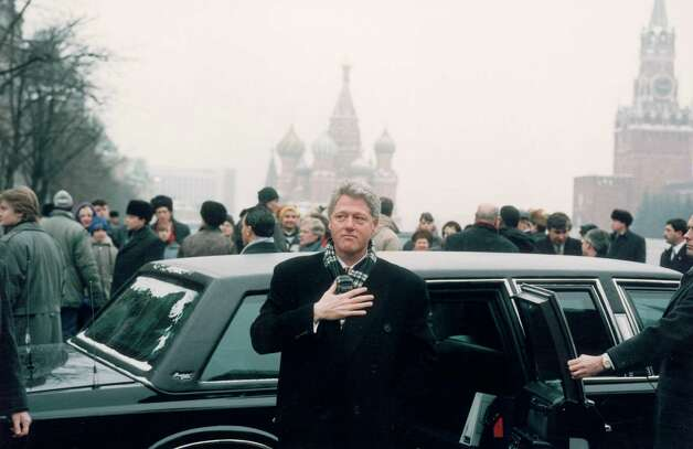 President Bill Clinton stands in front of his limo in Moscow's Red Square on Jan. 14, 1994. Photo: Diana Walker, Time & Life Pictures/Getty Image / Diana Walker