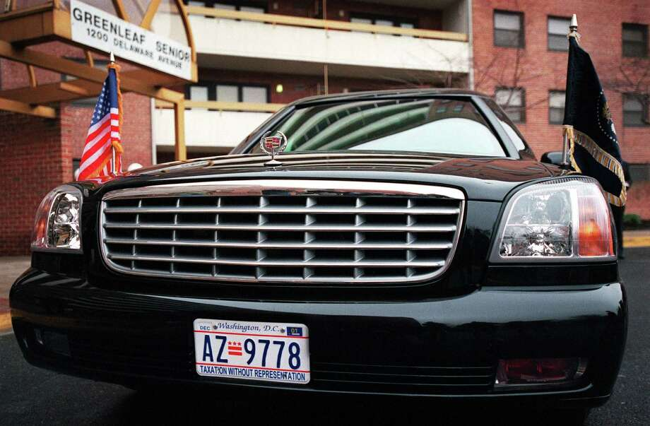 "After Washington, D.C., rolled out ""Taxation Without Representation"" license plates in 2000, to protest its lack of a vote in Congress, President Bill Clinton them put on his limo. Photo: SHAWN THEW, AFP/Getty Images / AFP"