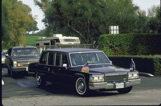 President Ronald Reagan's limo arrives for his New Year's stay in Palm Springs, Calif., in December 1985. Photo: Dirck Halstead, Time & Life Pictures/Getty Image / Dirck Halstead