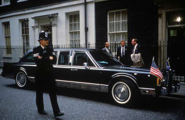 President George H.W. Bush's limo is parked outside 10 Downing Street, London, while Bush visits British Prime Minister Margaret Thatcher on June 1, 1989. Photo: Tom Stoddart Archive, Getty Images / 2008 Getty Images