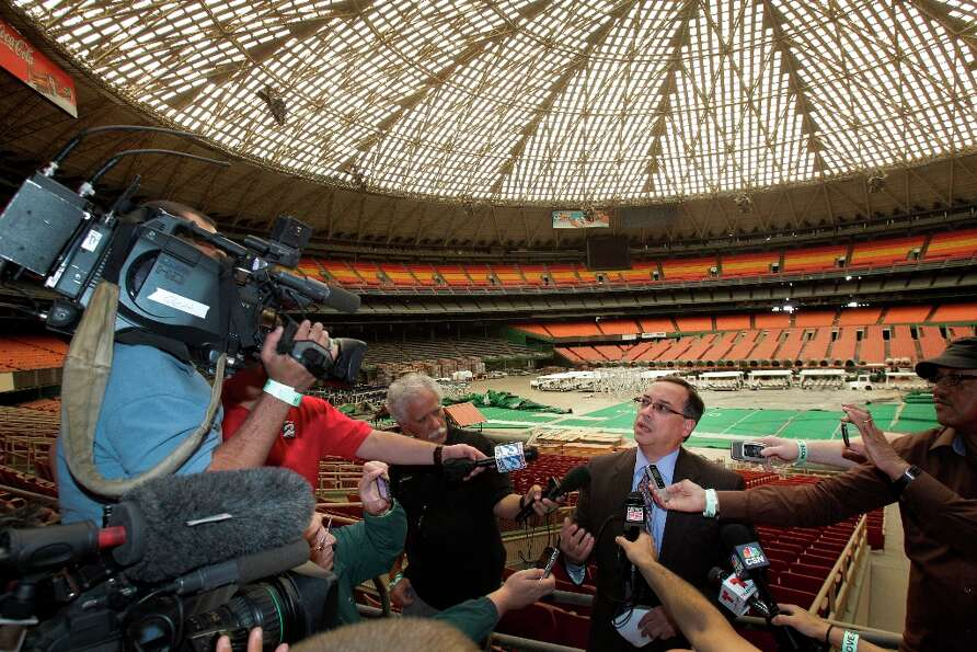 Edgar Colon, chairman of Harris County Sports Convention Corp., speaks to the media during a media t