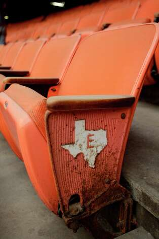Stadium seat shown during a media tour of the Reliant Astrodome Thursday, March 21, 2013, in Houston. Photo: Melissa Phillip, Houston Chronicle / © 2013  Houston Chronicle