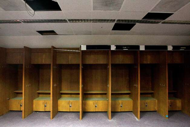 Locker room area once used by the Houston Astros shown during a media tour of the Reliant Astrodome Thursday, March 21, 2013, in Houston. Photo: Melissa Phillip, Houston Chronicle / © 2013  Houston Chronicle
