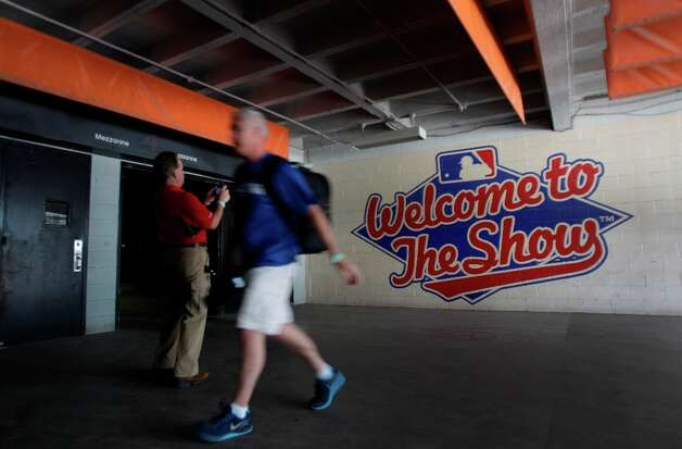 A painted Major League Baseball sign shown on the wall during a media tour of the Reliant Astrodome Thursday, March 21, 2013, in Houston. Photo: Melissa Phillip, Houston Chronicle / © 2013  Houston Chronicle