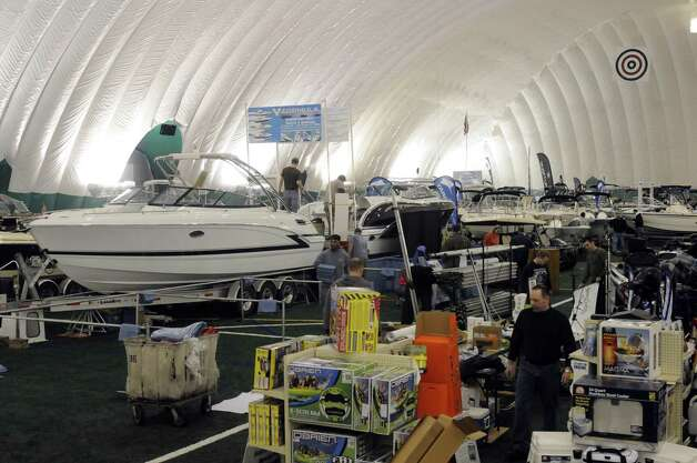 Setup for The Great Upstate Boat Show at the  Adirondack Sports Complex on Thursday March 21, 2013 in Queensbury, N.Y. The show runs through Sunday March 24. (Michael P. Farrell/Times Union) Photo: Michael P. Farrell