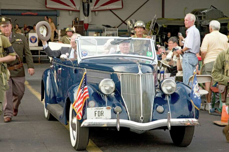 Similarly, here are actors portraying President Franklin D. Roosevelt and first lady Eleanor Roosevelt arriving at Mid-Atlantic Air Museum World War II Weekend and Reenactment in Reading, Pa., on June 18, 2008. Photo: Joseph Sohm, UIG Via Getty Images / © 2008 VisionsofAmerica.com/Joe Sohm.  All Rights Reserved. (800) SOHM-USA (764-6872)