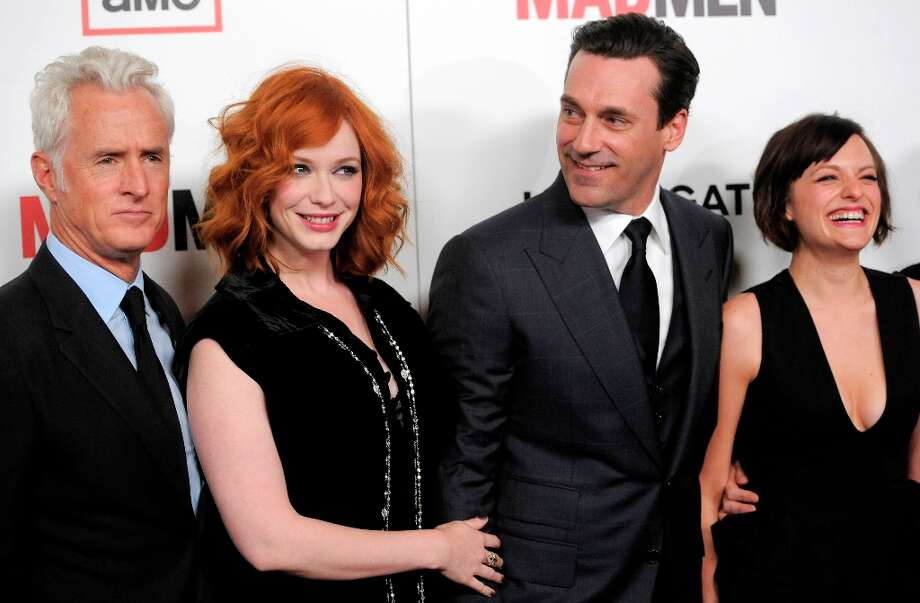From left, Mad Men cast members John Slattery, Christina Hendricks, Jon Hamm and Elisabeth Moss pose together at the season six premiere of the drama series at the Directors Guild of America on Wednesday, March 20, 2013 in Los Angeles. (Photo by Chris Pizzello/Invision/AP) Photo: Chris Pizzello, Associated Press / Invision