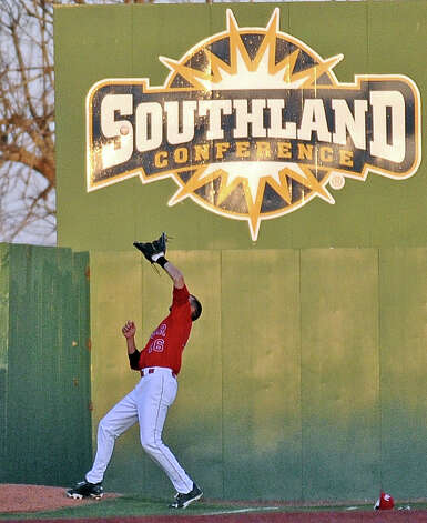 Lamar left fielder Darian Johnson, #16, gets under a foul pop fly during the Lamar University baseball game against Houston Baptist University on Wednesday, March 20, 2013, at Vincent-Beck Stadium. Photo taken: Randy Edwards/The Enterprise Photo: Randy Edwards