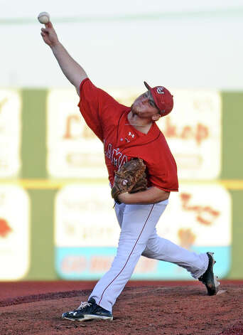 The Lamar opening pitcher Brett Brown, #31, throws a fastball during the Lamar University baseball game against Houston Baptist University on Wednesday, March 20, 2013, at Vincent-Beck Stadium. Photo taken: Randy Edwards/The Enterprise Photo: Randy Edwards