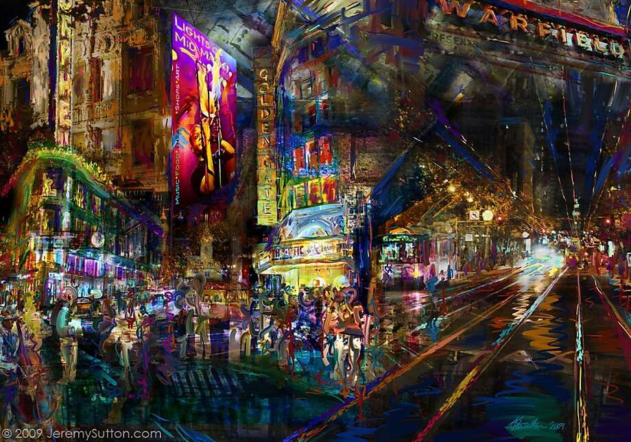 """Painter Jeremy Sutton's """"Lights on Mid-Market"""" depicts the hum of activity on Market Street by utilizing light and color. Photo: Courtesy Of The Artist"""
