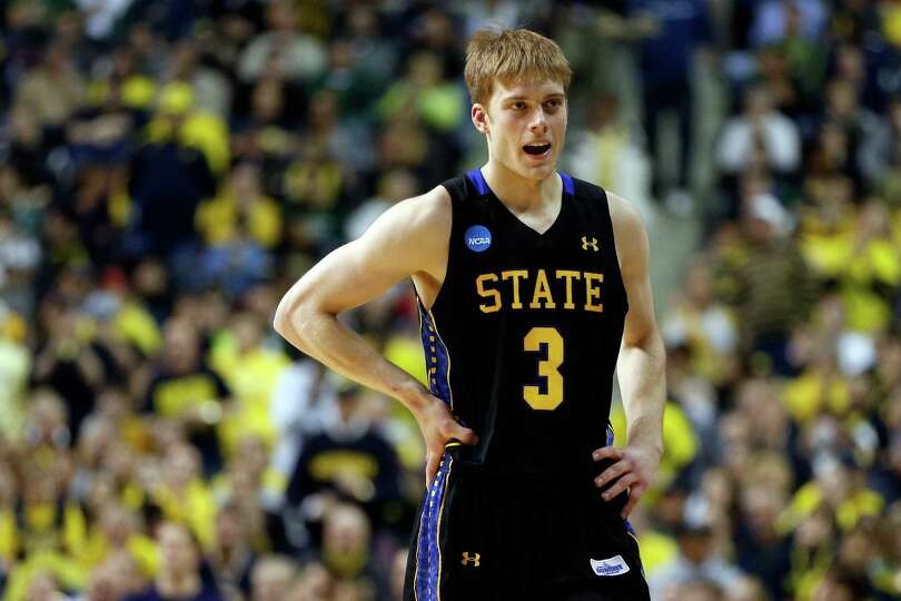 AUBURN HILLS, MI - MARCH 21:  Nate Wolters #3 of the South Dakota State Jackrabbits looks on in the