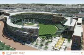 A rendering of the proposed San Jose A's ballpark, situated south of Diridon Station in downtown San Jose.
