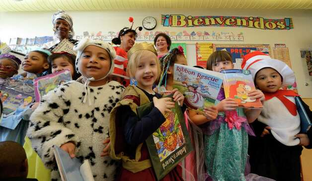 "Ana Banda-Wempe's Pre-K class is all decked out in their theme costumes March 21, 2013, during ""living Literature Day"" as part of the week-long literacy celebration at the Delaware Community School in Albany, N.Y.(Skip Dickstein/Times Union) Photo: SKIP DICKSTEIN / 10021651A"