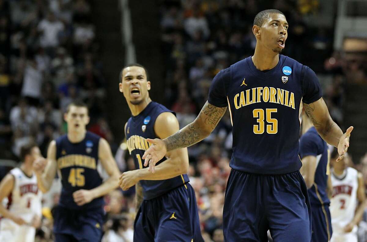 California's Richard Solomon (35) reacts after scoring a three point basket that game the Bears the lead against UNLV during the first half of their NCAA Division 1 Basketball Championship game Thursday, March 21, 2013 in San Jose Calif.