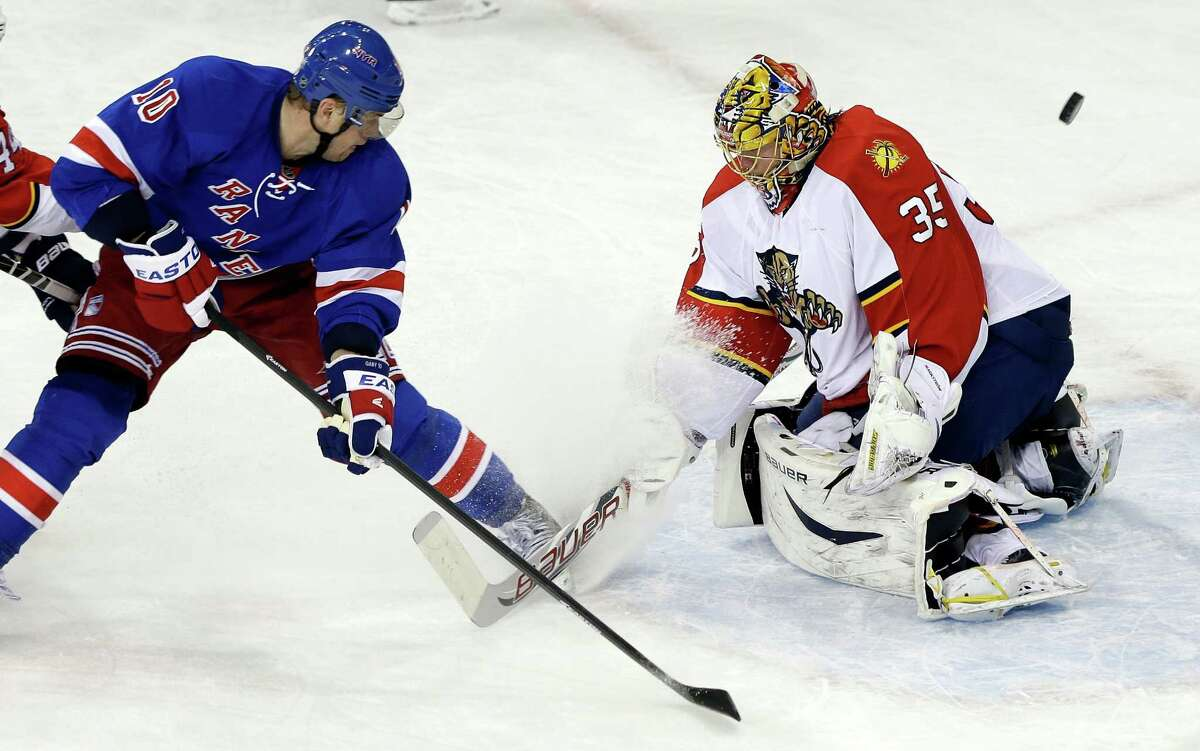 New York Rangers' Marian Gaborik (10) shoots the puck past Florida Panthers goalie Jacob Markstrom (35) for a goal during the third period of an NHL hockey game, Thursday, March 21, 2013, in New York. The Panthers won 3-1. (AP Photo/Frank Franklin II)