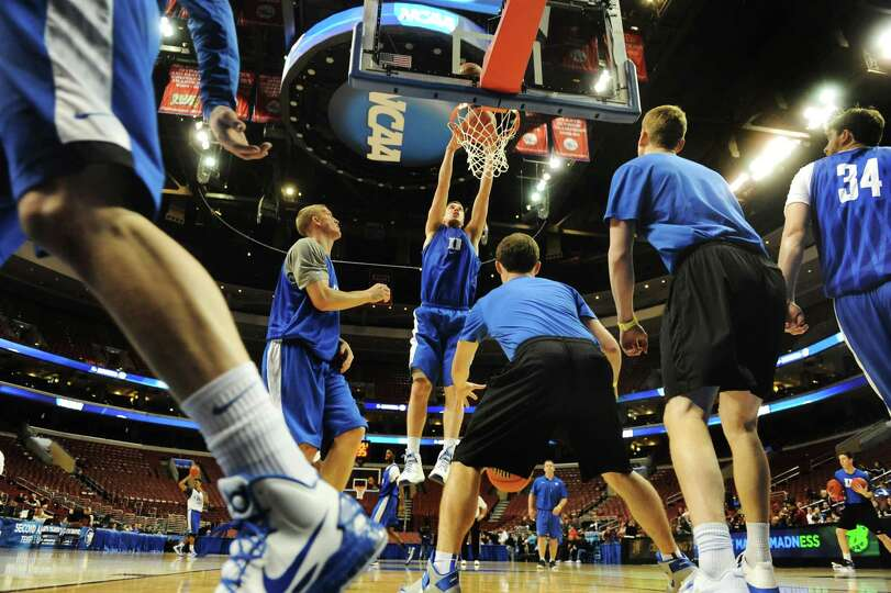 Duke shows off their talent during the NCAA Tournament open practice on Thursday, March 21, 2013, at