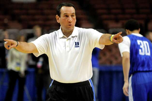 Duke's coach Mike Krzyzewski instructs his team during the NCAA Tournament open practice on Thursday, March 21, 2013, at Wells Fargo Center in Philadelphia, Penn. Duke plays UAlbany in the second round on Friday at 12:15 p.m. (Cindy Schultz / Times Union) Photo: Cindy Schultz