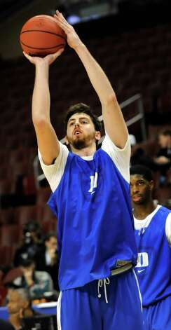 Duke's Ryan Kelly shoots the ball during the NCAA Tournament open practice on Thursday, March 21, 2013, at Wells Fargo Center in Philadelphia, Penn. (Cindy Schultz / Times Union) Photo: Cindy Schultz