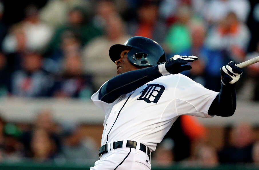 Austin Jackson pops up during the fifth inning.