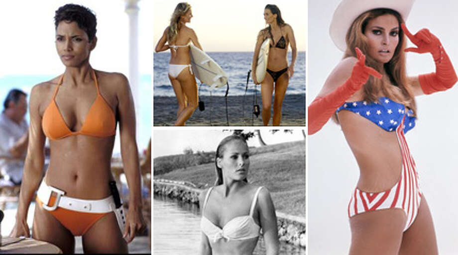 With the stars of new movie ''Spring Breakers'' spending much of their time in a bikini on film, here's a look at famous movie bikinis over the years (pictured).