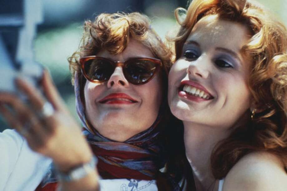 THELMA AND LOUISE -- classic feminist film, which posed the question, Is the promise of the great American road available to women, too?  The movie's answer:  Not really.