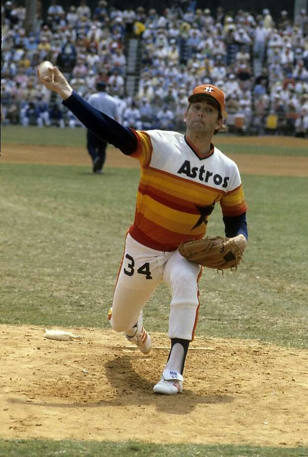 From the pale orange hat to the number on the pants to the sand painting design of the jersey, the Houston Astros uniform is nothing if not infamous.  Photo: Focus On Sport, Getty Images