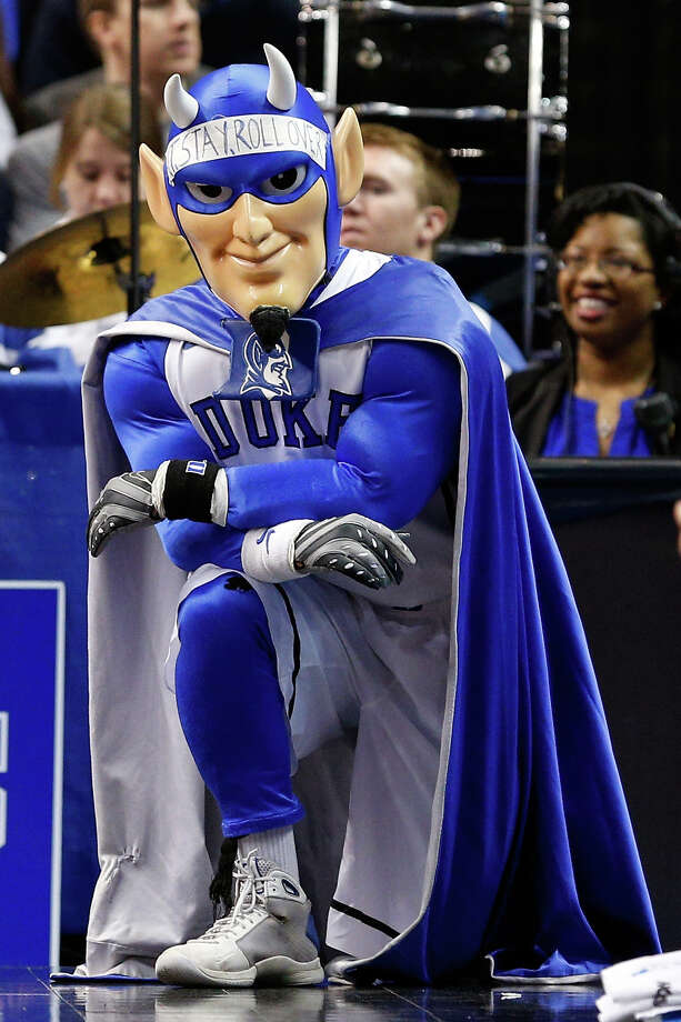 PHILADELPHIA, PA - MARCH 22:  The Duke Blue Devils mascot watches from the baseline in the first half as the Blue Devils take on the Albany Great Danes in the second round of the 2013 NCAA Men's Basketball Tournament on March 22, 2013 at Wells Fargo Center in Philadelphia, Pennsylvania. Photo: Rob Carr, Getty Images / 2013 Getty Images