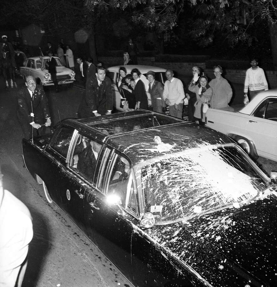 Anti-Vietnam War protestors throw paint at President Lyndon B. Johnson's car during his visit to Melbourne, Australia, on Oct. 21, 1966. Johnson was the first U.S. President to visit Australia. Photo: Fairfax Media, Fairfax Media Via Getty Images / 2013 Fairfax Media