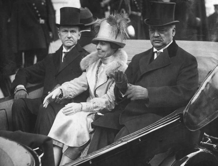 President Calvin Coolidge rides with First Lady Grace Coolidge and Sen. Charles Curtis in March 1925. Photo: New York Times Co., Getty Images / Archive Photos
