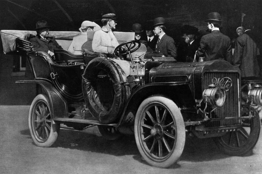 We start with President Theodore Roosevelt, who served from 1901 to 1909, in an American Government 30-horsepower White Steam Car. Photo: Hulton Archive, Getty Images / Hulton Archive