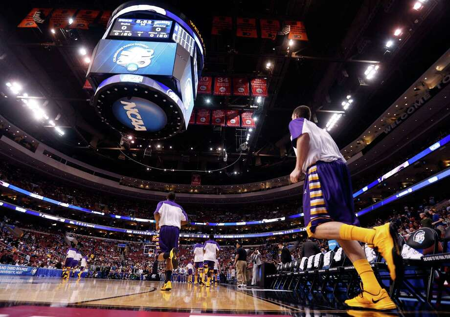 PHILADELPHIA, PA - MARCH 22:  The Albany Great Danes take the court before taking on the Duke Blue Devils in the second round of the 2013 NCAA Men's Basketball Tournament on March 22, 2013 at Wells Fargo Center in Philadelphia, Pennsylvania. Photo: Rob Carr, Getty Images / 2013 Getty Images
