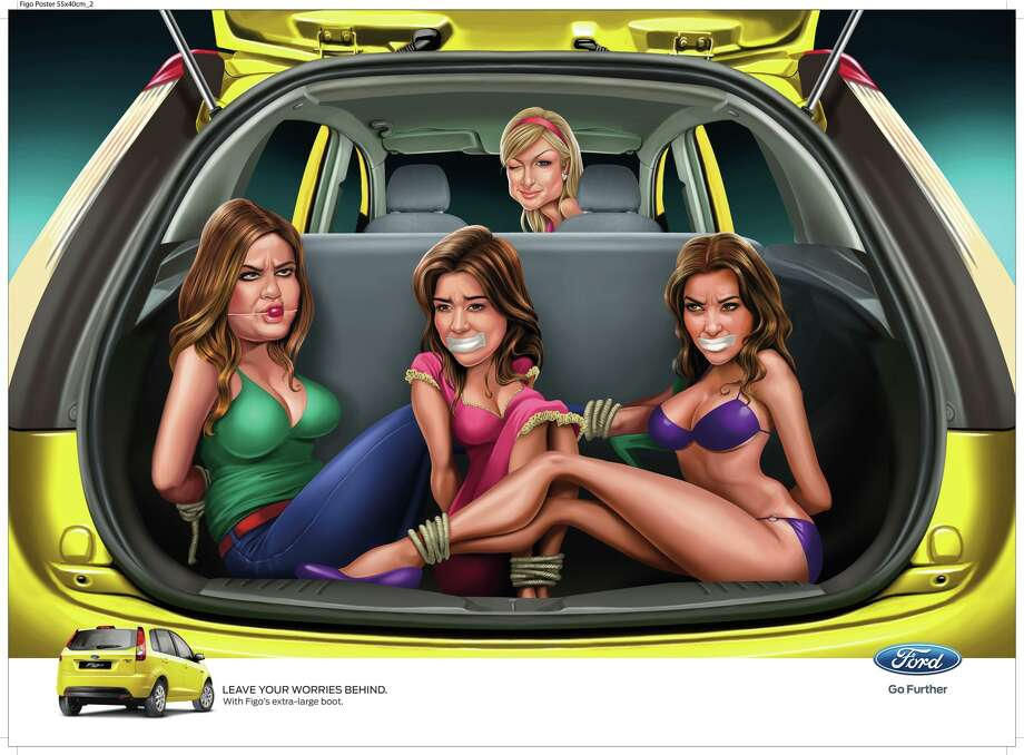 Another ad shows Paris Hilton with her captured, reality television competition: the Kardashians. Kim is displayed in lingerie. Photo: Ford Of India Via Ads Of The World