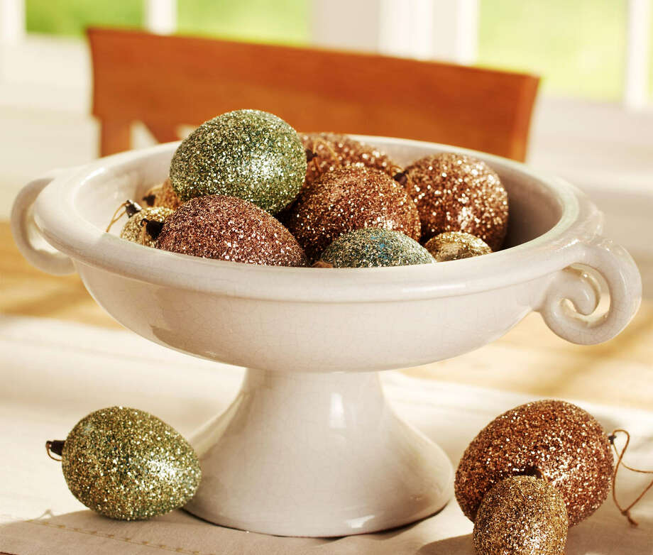 Glitter-covered eggs bring glamour and sophistication to the Easter table. Photo: Anthony Gamboa / Pottery Barn