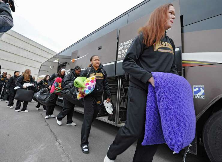 The UAlbany women's basketball team departs from the SEFCU arena for the NCAA Tournament held in Del