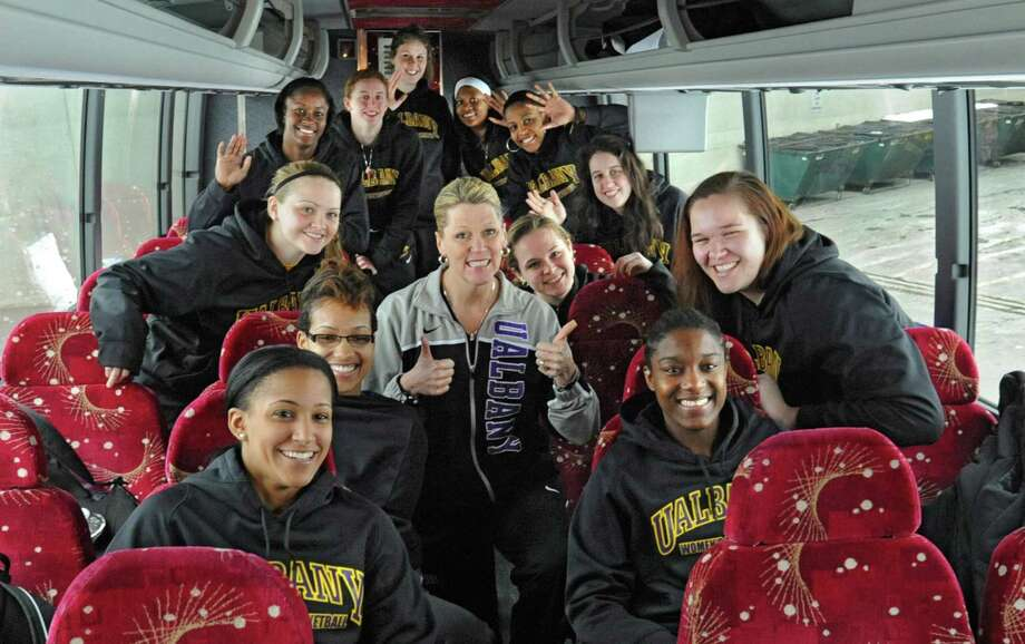 The UAlbany women's basketball team departs from the SEFCU arena for the NCAA Tournament held in Delaware on Friday, March 22, 2013 in Albany, N.Y. (Lori Van Buren / Times Union) Photo: Lori Van Buren